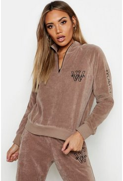 Womens Sand High Neck Velour Embroidered Zip Detail Sweat
