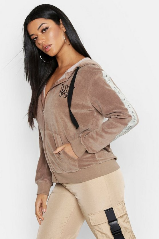 Womens Sand Velour Tape Detail Oversize Hoody