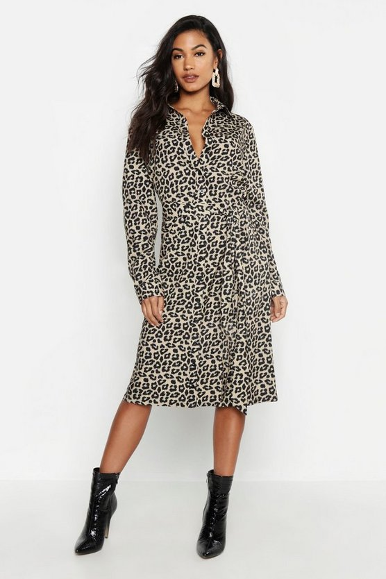 Womens Yellow Leopard Tie Waist Shirt Dress