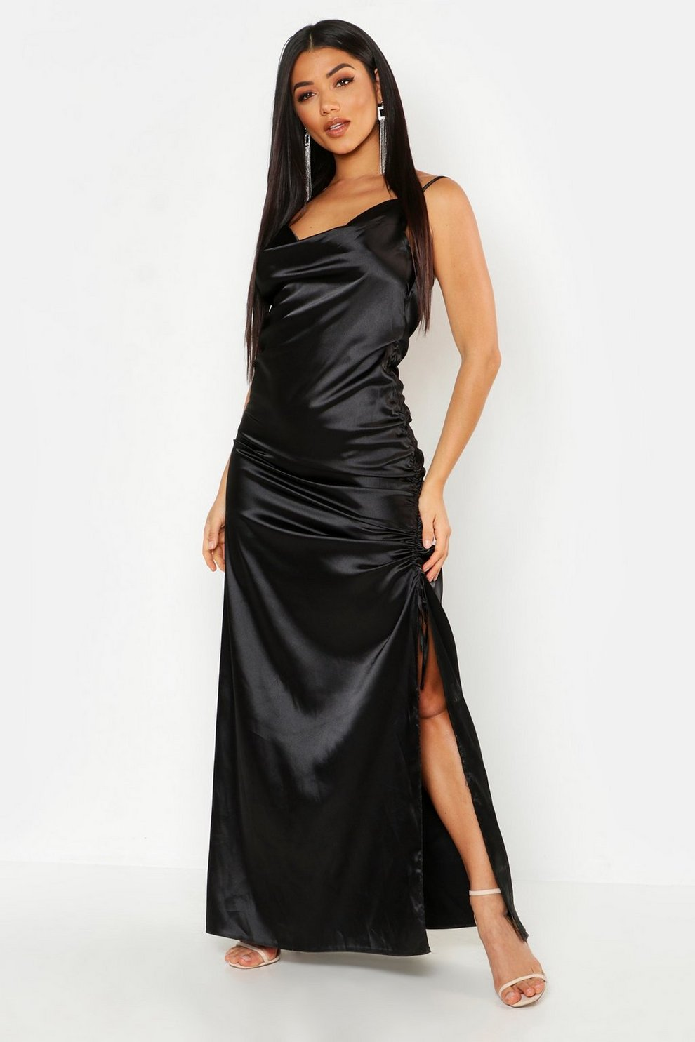58bf0d794c89 Satin Cowl Neck Ruched Maxi Dress | Boohoo
