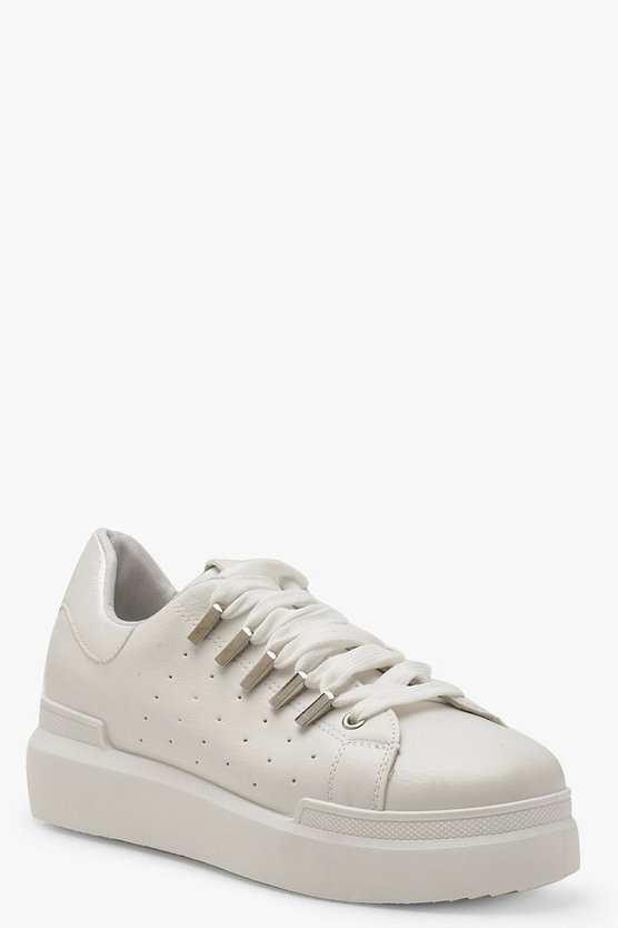 Womens White Platform Lace Up Trainers