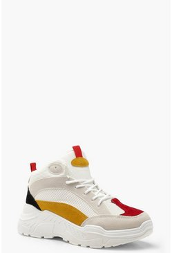 Womens Red Colour Block Chunky High Top Trainers