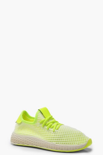 Womens Lime Neon Mesh Lace Up Sports Trainers