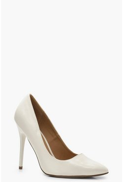 Womens White Wide Fit Stiletto Heel Court Shoes
