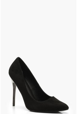 Dam Black Pumps med stilettklack och bred passform