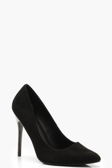 Womens Black Wide Fit Stiletto Heel Court Shoes