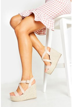 Nude Wide Fit Cross Strap Wedge Heels