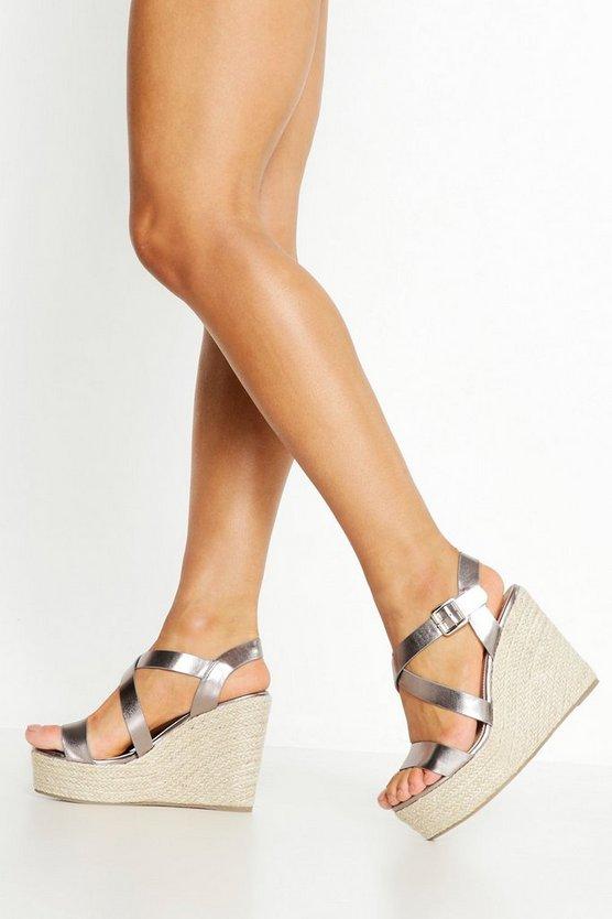 Wide Fit Cross Strap Wedge Heels