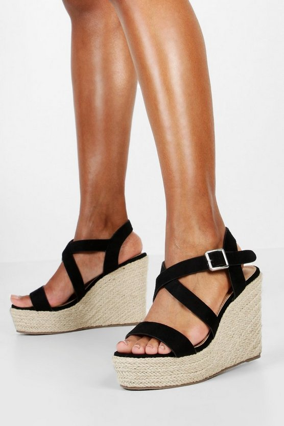 Womens Black Wide Fit Cross Strap Wedge Heels