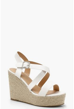 Womens White Wide Fit Cross Strap Wedge Heels