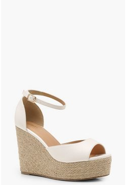 Womens White Wide Fit Peeptoe Wedge Heels