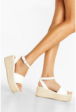 Womens White Wide Fit Lizard 2 Part Flatforms