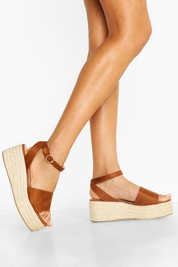 Tan Wide Fit 2 Part Flatforms