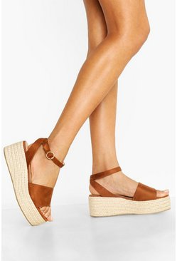 Womens Tan Wide Fit 2 Part Flatforms