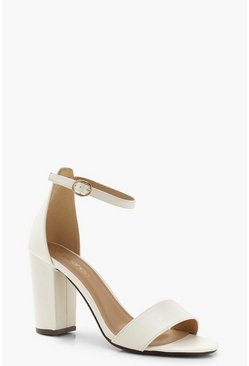 White Wide Fit Block Heel 2 Parts