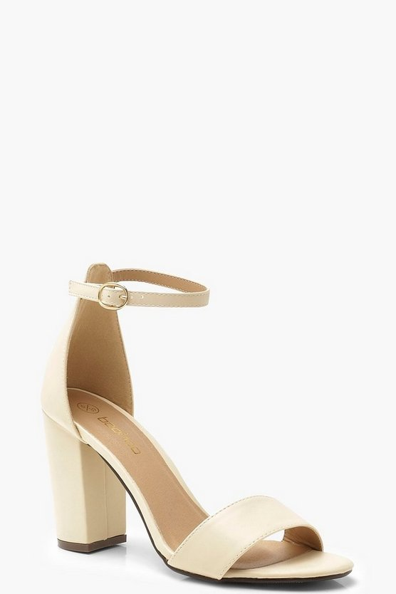 Womens Nude Wide Fit Block Heel 2 Parts