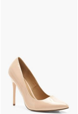 Womens Nude Wide Fit Stiletto Heel Court Shoes