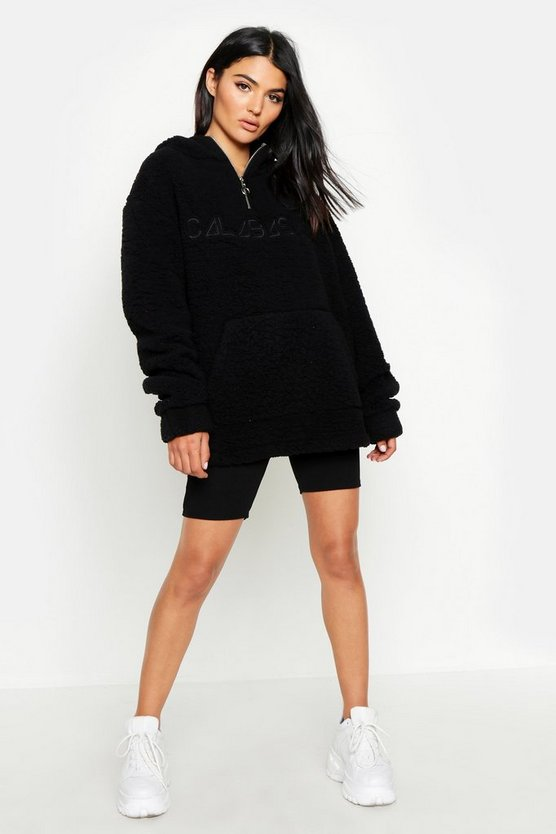 Womens Black Teddy Embroidered Slogan Hoody