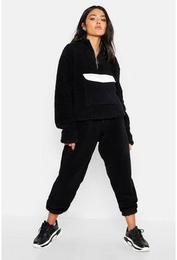 Womens Black Teddy Basic Jogger