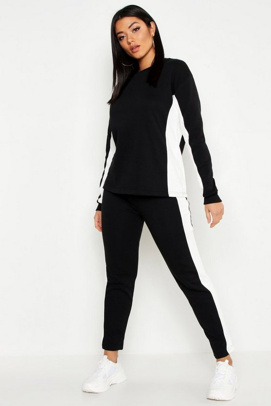 Womens Black Colour Block Straight Leg Jogger