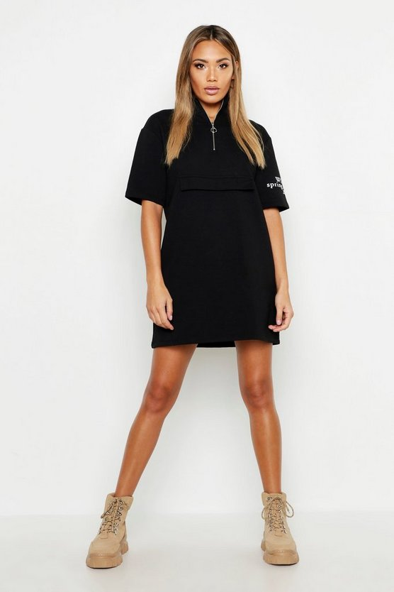 Womens Black Short Sleeve Zip Detail Slogan Sweat Dress