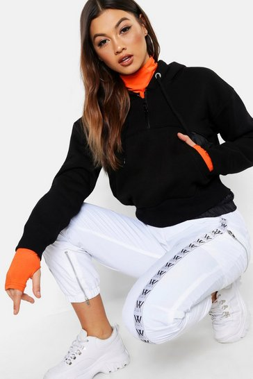Womens Black Fabric Mix Hoody