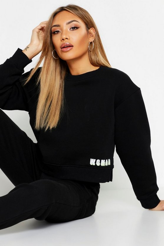 Cropped Neon Woman Slogan Sweat