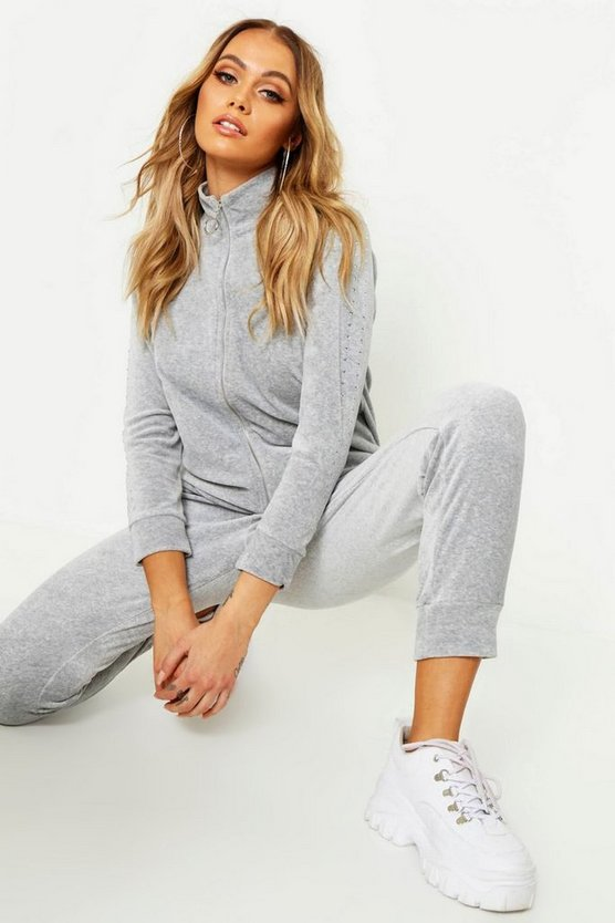 Womens Grey Velour Studded Zip Through Hoody