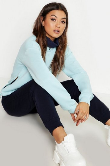 Womens Sky Contrast Roll Neck Premium Sweat