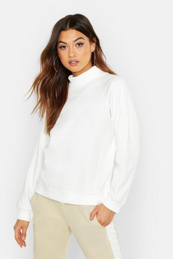 Womens Ecru Knit Rib Roll Neck Premium Oversize Sweat