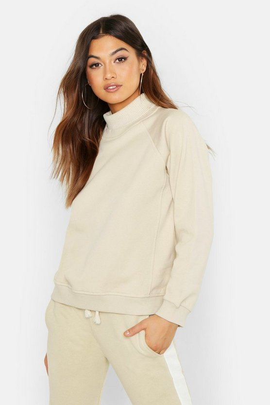 Womens Sand Knit Rib Roll Neck Premium Oversize Sweat