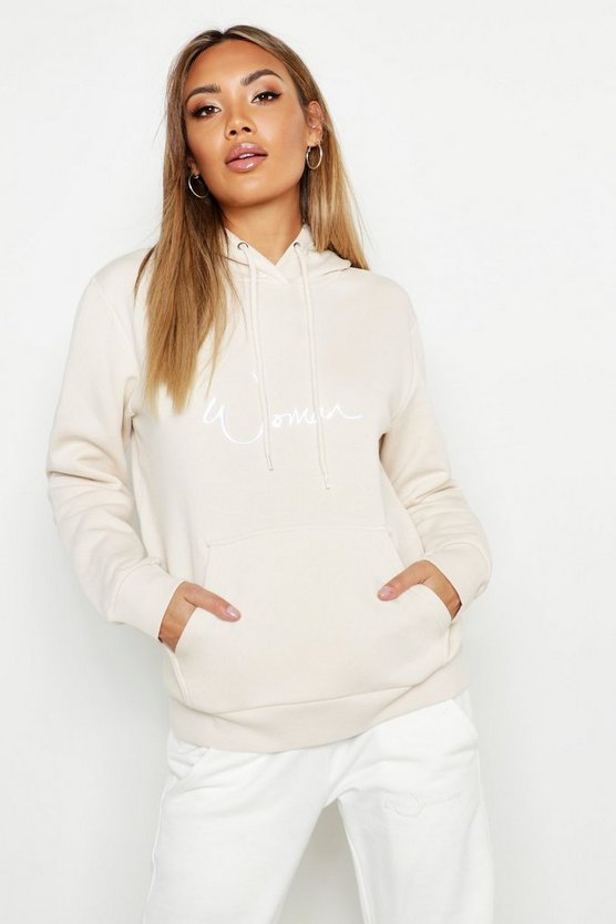 Womens Oversized Heavyweight Woman Slogan Hoody