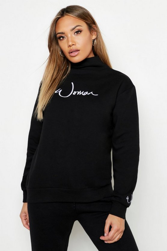 Womens Black Funnel Neck Woman Embroidered Sweat