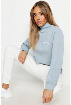 Womens Petrol Funnel Neck Woman Embroidered Sweat
