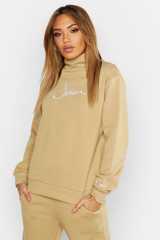 Womens Taupe Funnel Neck Woman Embroidered Sweat