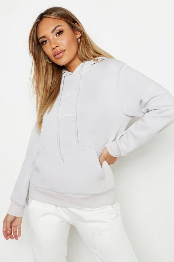 Womens Lilac Repeat Woman Slogan Hoody