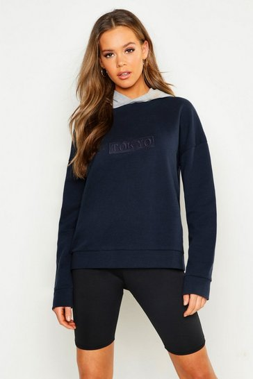 Womens Navy Contrast Hood Embroidered Oversized Hoody