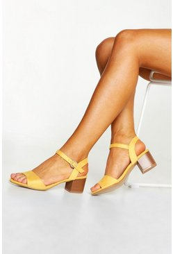 Womens Mustard Square Toe Block Heels