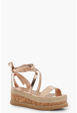Womens Rose gold Wrap Strap Flatform Sandals