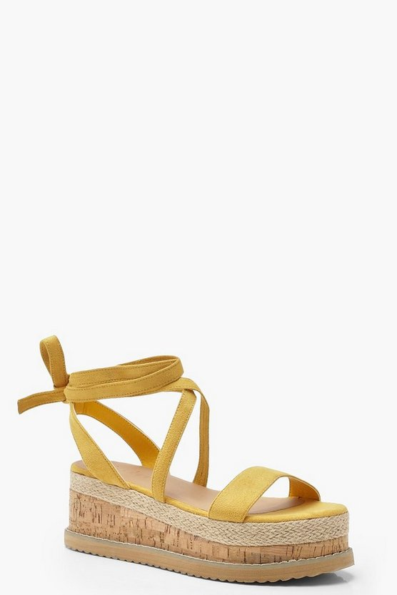 Womens Yellow Wrap Strap Flatform Sandals