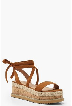 Womens Tan Wrap Strap Flatform Sandals
