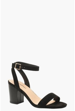Womens Black 2 Part Wooden Block Heels