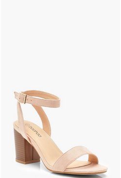 Womens Pink 2 Part Wooden Block Heels