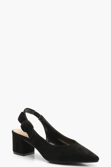 Womens Black Block Heel Slingback Ballets