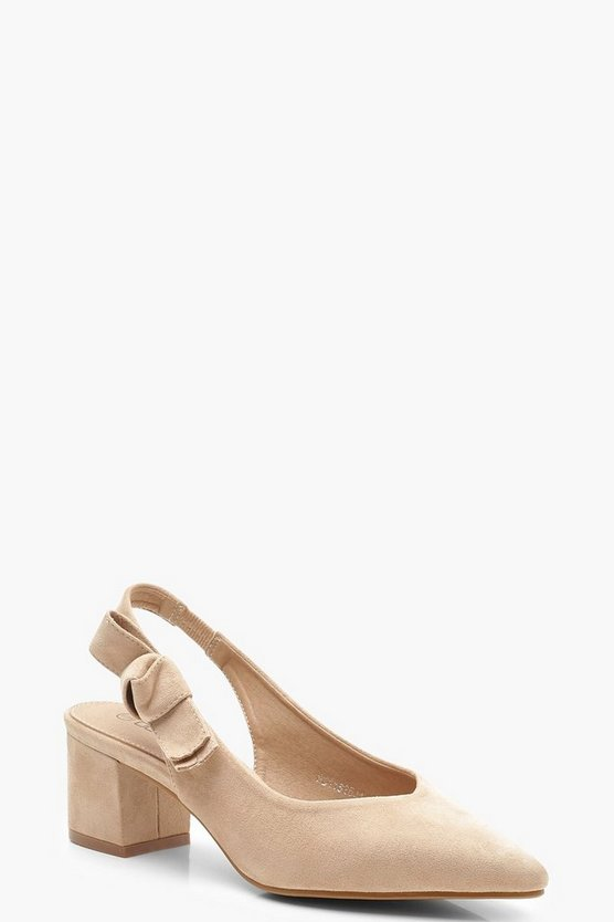Womens Taupe Block Heel Slingback Ballets