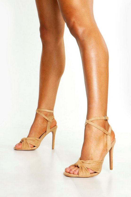 Womens Tan Knot Front Square Toe Heels