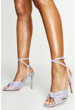 Womens Lilac Knot Front Square Toe Heels