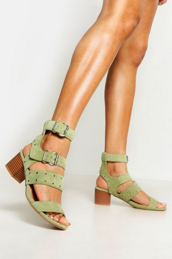 Womens Stud And Buckle Block Heels