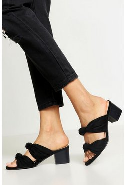 Womens Black Double Knot Wooden Heel Mules