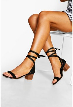 Womens Black Wooden Low Block Heel Wrap Sandals